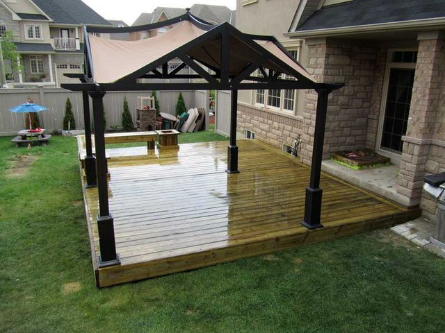 Free standing patio roof designs deck canopies free for Simple platform deck plans