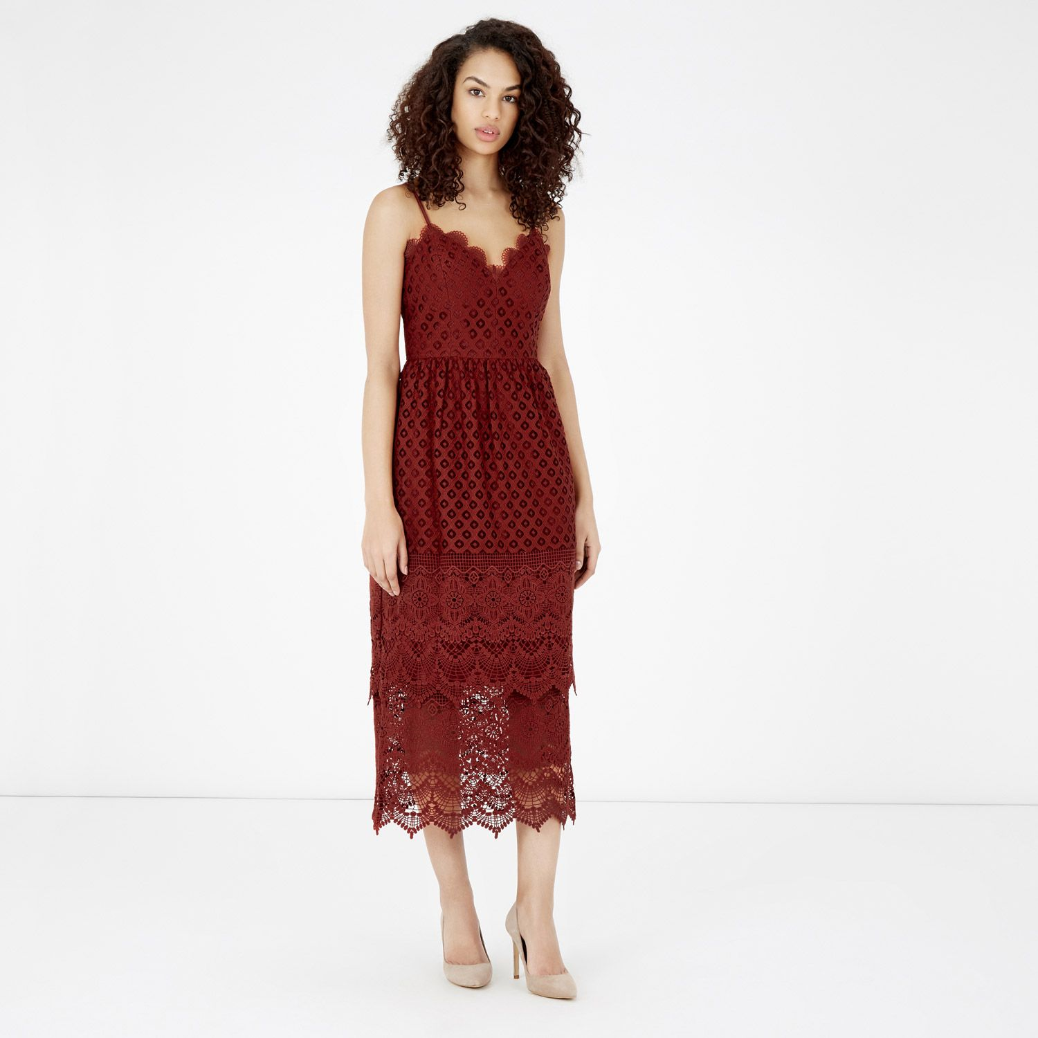 Warehouse, LACE TIERED DRESS COPR 4 | Clothes | Pinterest