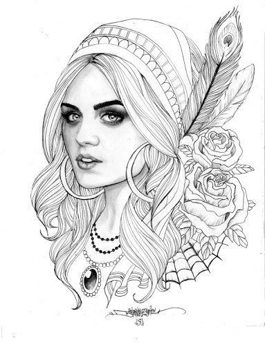 Grey Ink Gypsy Head With Roses Tattoo Design 1a Gypsy
