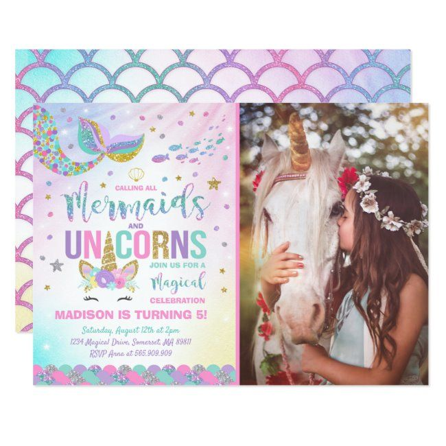 Mermaid & Unicorn Birthday Invitation Magic Party   Zazzle com - Birthday invitations, Unicorn birthday, Magic party, Mermaid birthday invitations, Unicorn birthday invitations, Unicorn birthday parties - Mermaid & Unicorn Birthday Invitation  A perfect Way to announce your Magical Unicorn party!  Design are all © PIXELPERFECTIONPARTYLTD