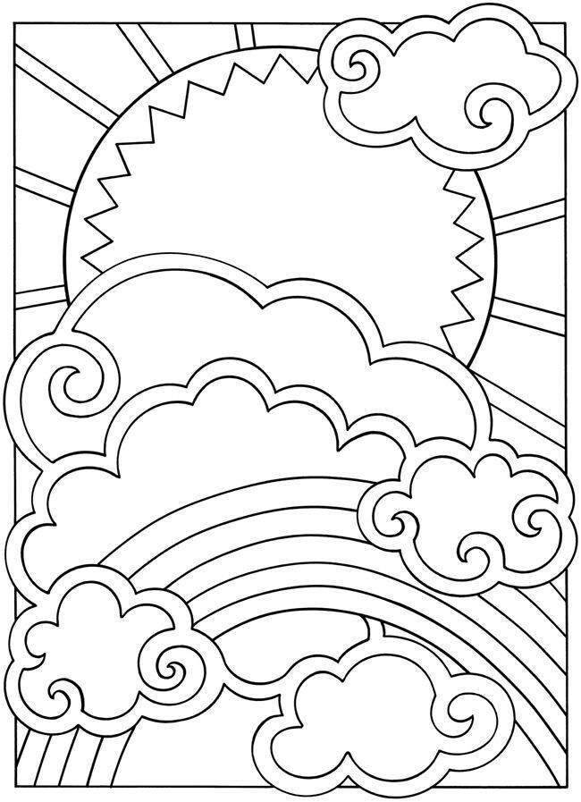 Stuff To Color Sun Cloud Rainbow Coloring Pages Coloring