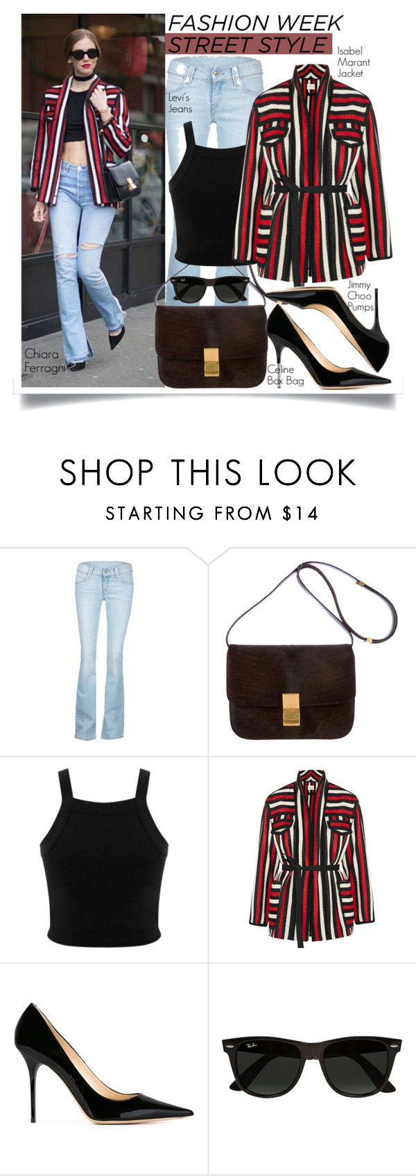 """""""PFW Style: Chiara Ferragni 2"""" by eraining ❤ liked on Polyvore featuring Levi's, CÉLINE, Miss Selfridge, Étoile Isabel Marant, Jimmy Choo, Ray-Ban, PFW, BloggerStyle, celebstyle and CelebrityStyle"""