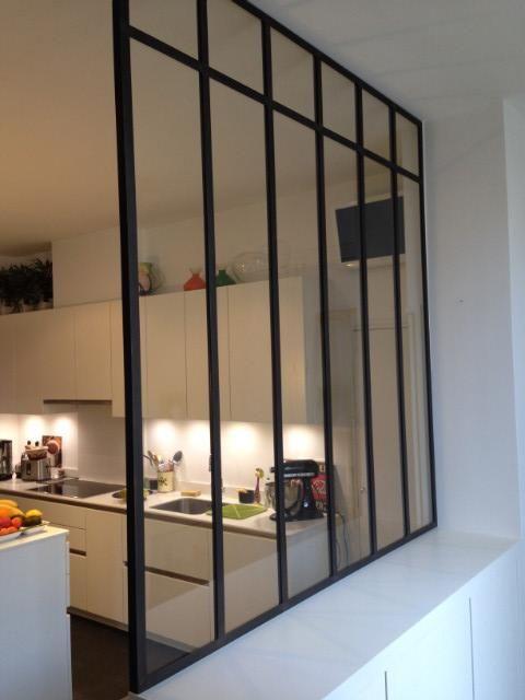 Verri re fixe sur muret verri res d 39 int rieur ghislain deco vitrage atelier verriere - Muret de cuisine ...
