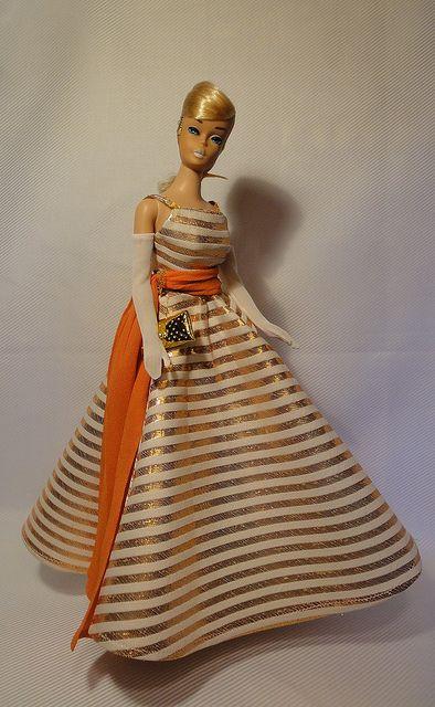 HANDMADE BARBIE CLOTHES ORANGE SWIRLS STRAIGHT DRESS