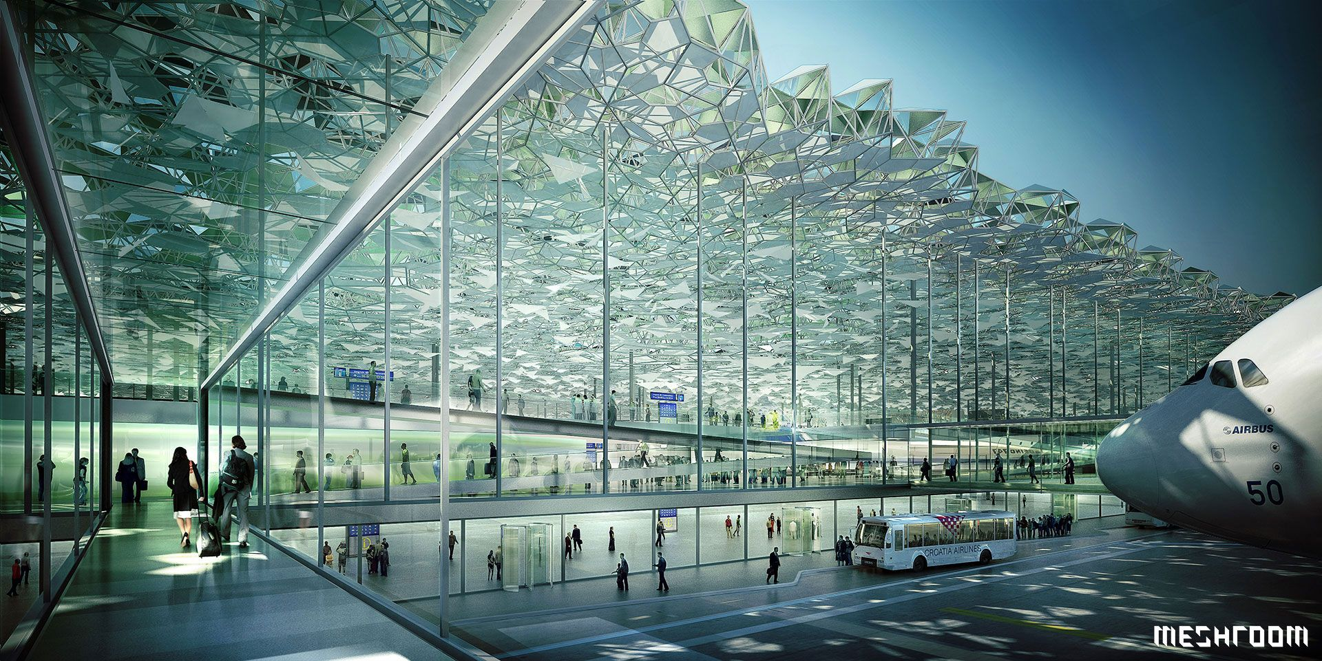 Zagreb Airport Competition Croatia 3d Architectural Visualisation Meshroom Interior Architecture Visualization Architecture Rendering Architecture