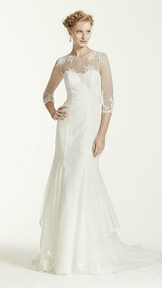 Simple Elegant Long Sleeves Wedding Dress For Older Bride