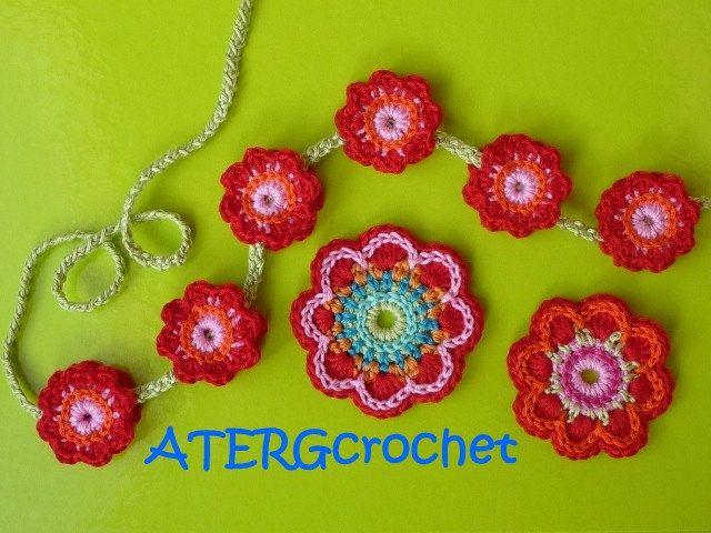 Crochet poder patrón de flores triple