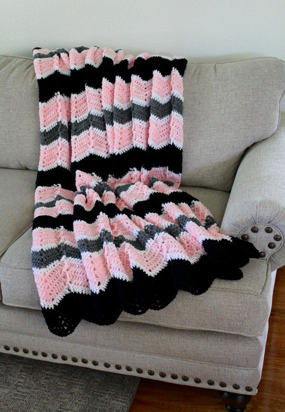Afghan - Handmade Crochet Ripple Blanket - Black Grey and Pink ...