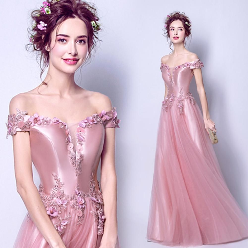 Boat Neck Maxi Prom Dress -   19 dress Pink tulle ideas