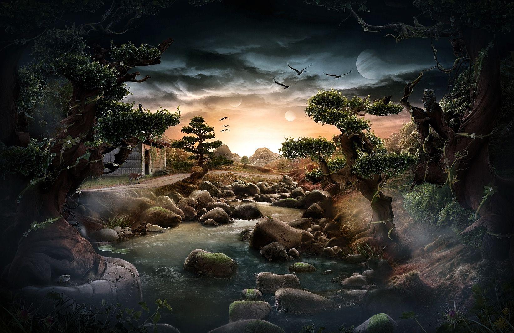 Sci Fi Landscape Wallpaper Sci Fi Landscape Wallpaper Night Scenery Fantasy Landscape Alien Worlds