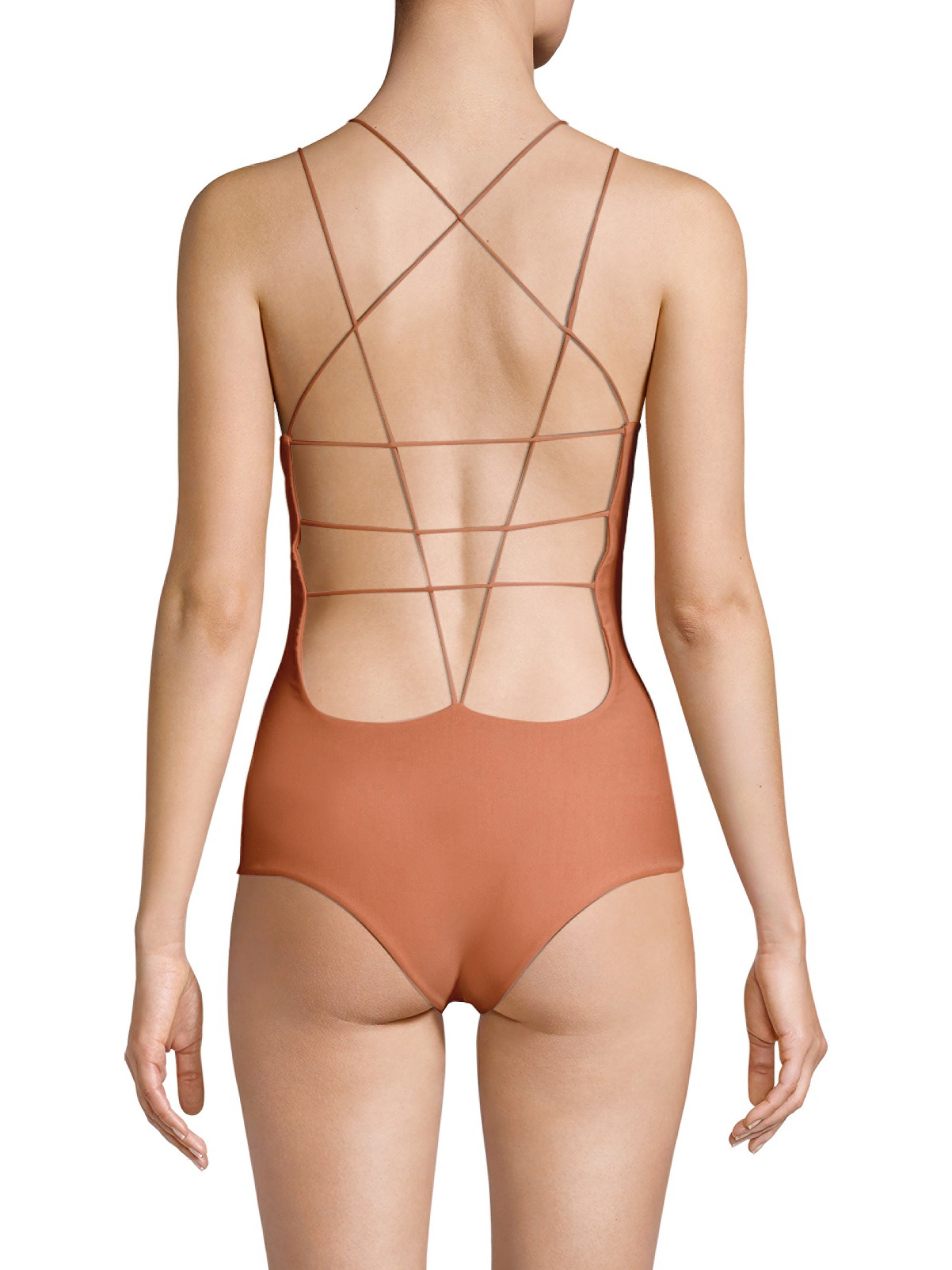 4563c312c44 Mikoh Swimwear Kilauea One-Piece Strappy Back Swimsuit - Honey Small ...