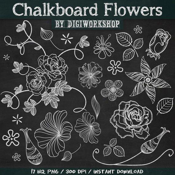8fe2888489b9 Chalkboard Flower Clip Art Clipart: