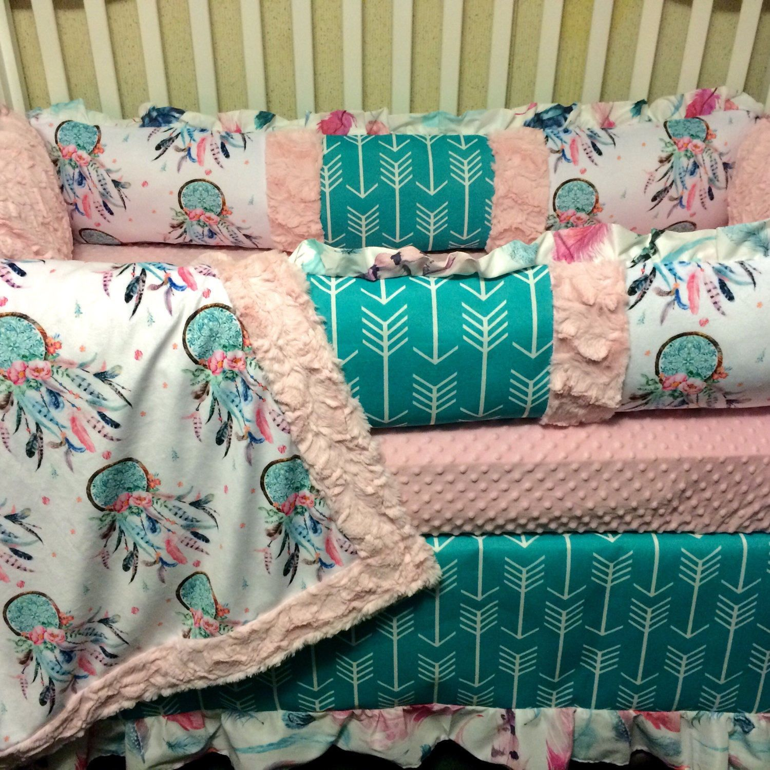 Dream Catcher Baby Bedding Cool Dream Catcher And Arrows Custom Baby Bedding With Pink And Teal Decorating Inspiration