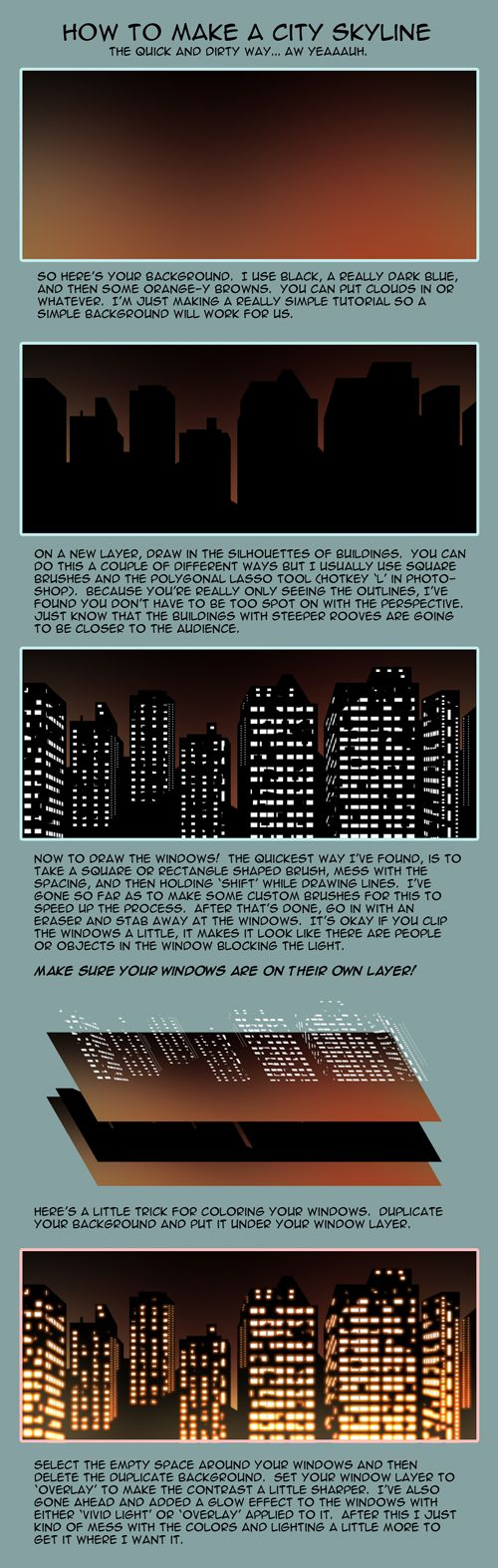 Learning to draw the night city in pencil (coloring)
