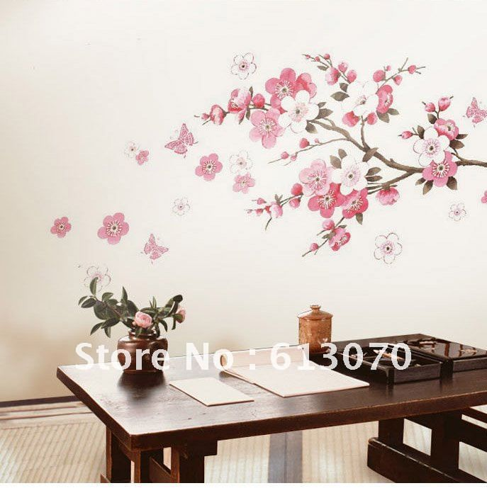 Wonderful Flower Wall Stickers | Flower Wall Stickers Pink Tree Sticker Living Room  Poster Walls Decals . Part 4
