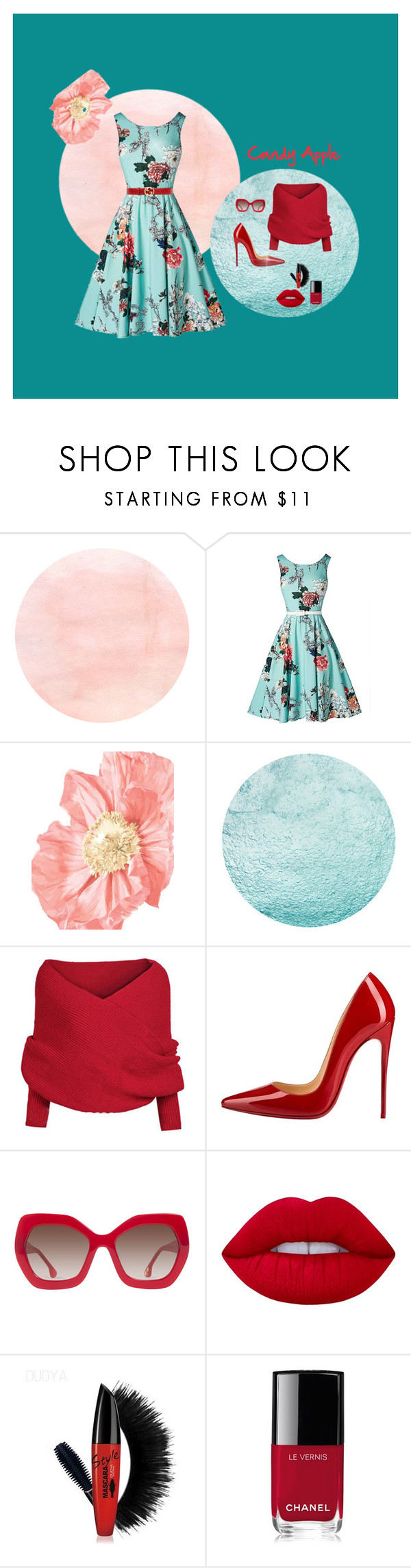 """""""Untitled #13"""" by sharonvandoesburg ❤ liked on Polyvore featuring WithChic, Christian Louboutin, Alice + Olivia, Lime Crime, Chanel and Gucci"""