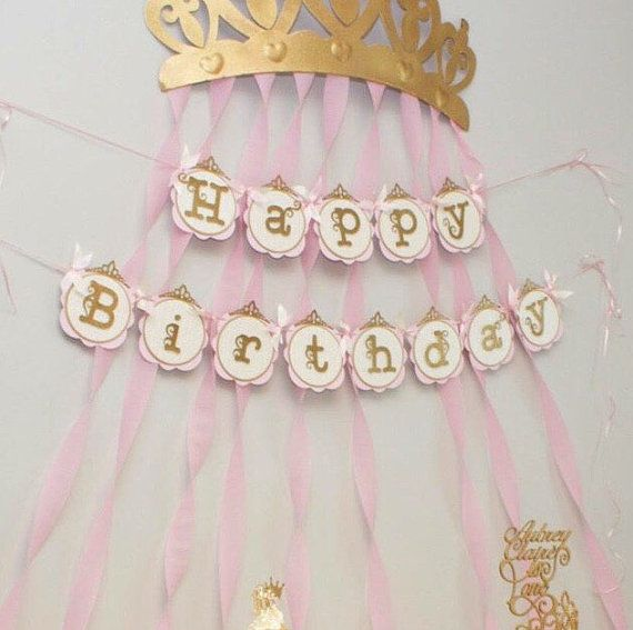 Coronas Para Decorar Cumpleanos.Banner De Cumpleanos De Princesa Color Rosa Y Oro Por