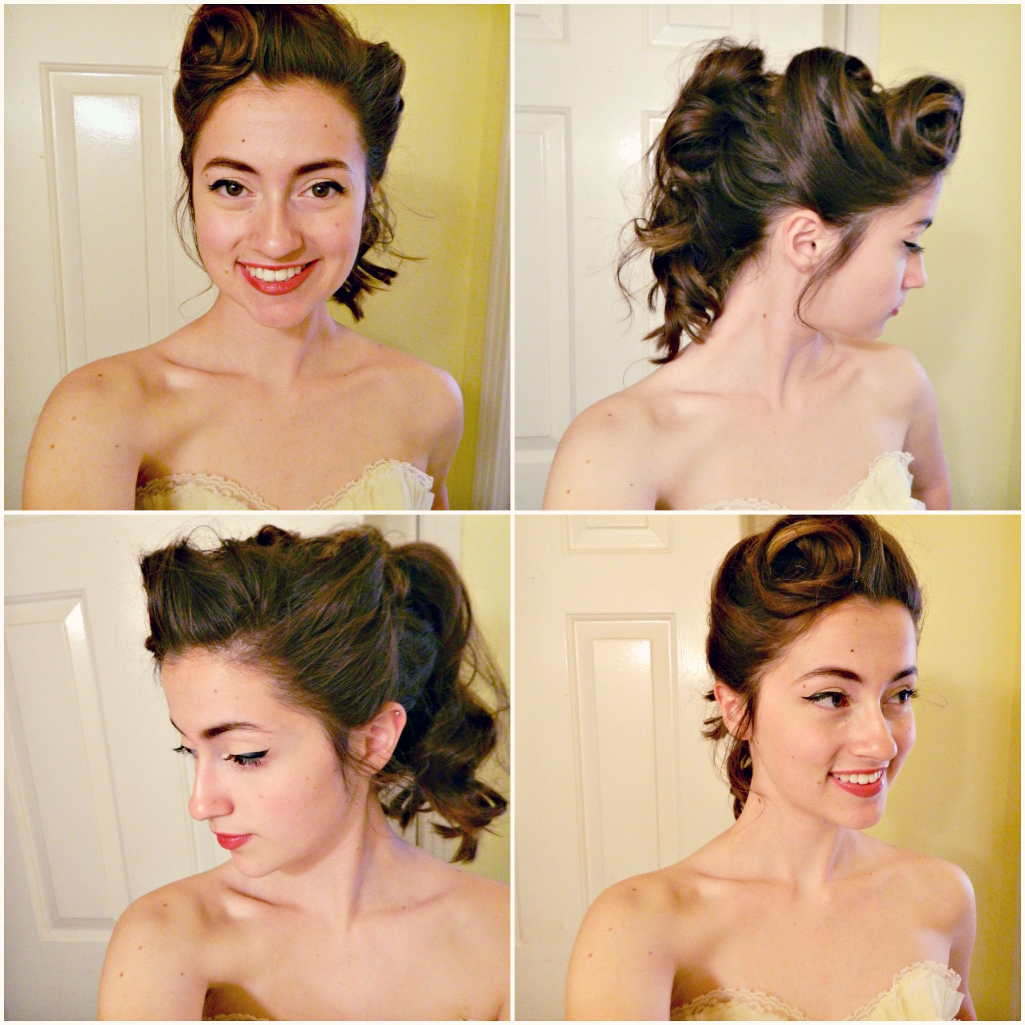 My 1950 S Victory Roll Inspired Prom Updo Or At Least An Idea For It Wedding Hairstyles 50s Hairstyles Hair Styles