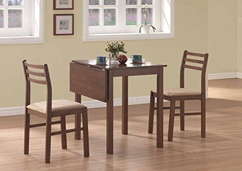 Monarch Specialties 3Piece Solidtop Drop Leaf Dining Set Walnut Delectable 107 Dining Room Design Inspiration