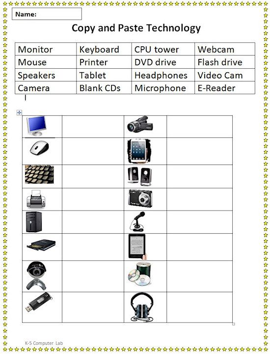 copy and paste technology vocabulary sheet tech teaching computers elementary computer lab. Black Bedroom Furniture Sets. Home Design Ideas