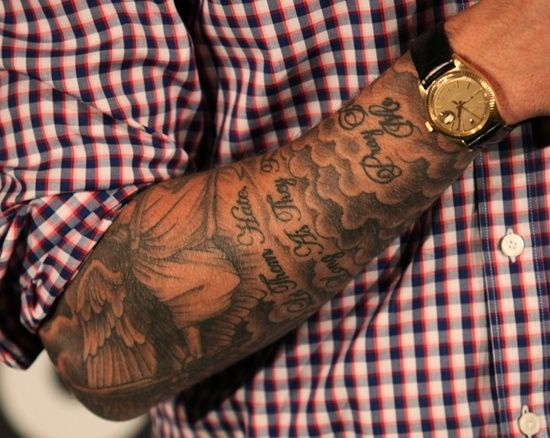 David Bekham's Tattoo Design and Meaning: David Beckham Full Tattoo Design On Arm ~ Celebrity Tattoos Inspiration
