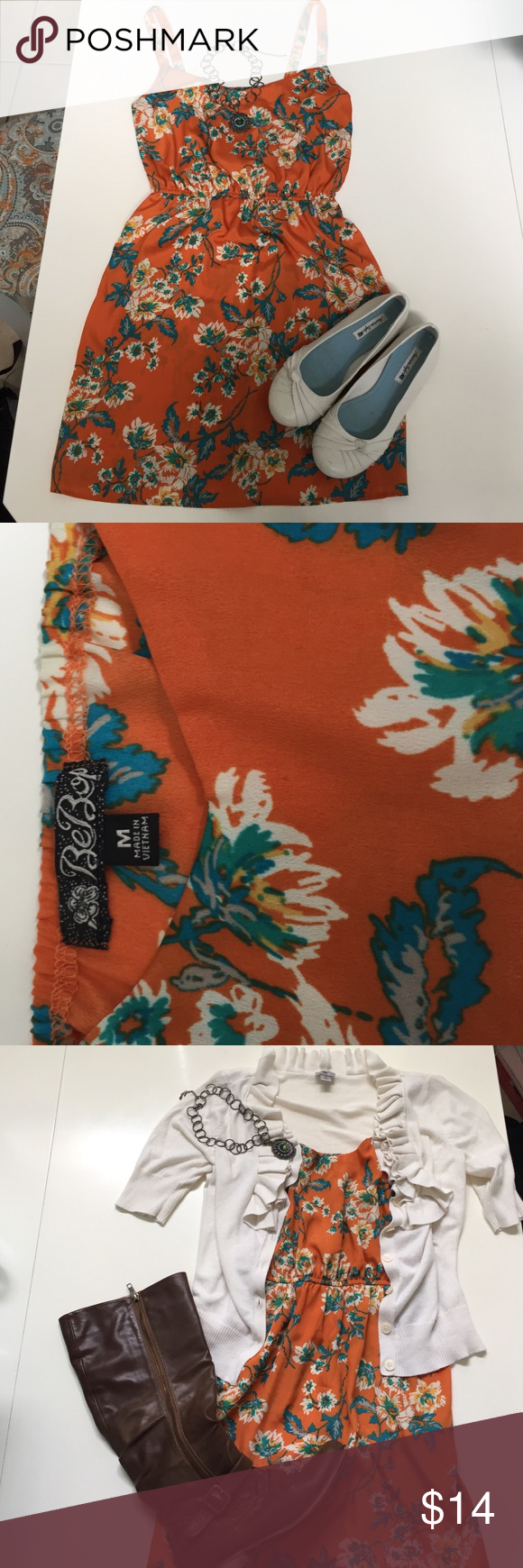BeBop dress BeBop, Sz M, beautiful orange dress with a turquoise and yellow floral print. 100% polyester, 34in from shoulder to hem. Elastic waist. Stunning, layer for fall, perfect autumn colors! BeBop Dresses Mini