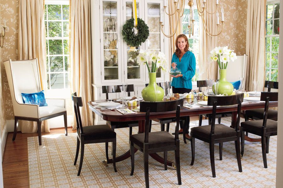 Use a formally balanced layout for a traditional dining room. This room highlights the homeowner's preference for symmetry and clean lines. A new built-in china cabinet looks original to the circa-1920s house.  See this Bright and Colorful Home