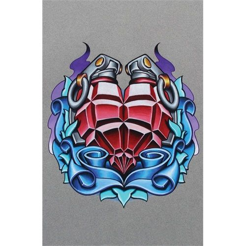 bfb096ef8 Heart Grenade by Jeremy Miller New School Color Tattoo Art Print ...
