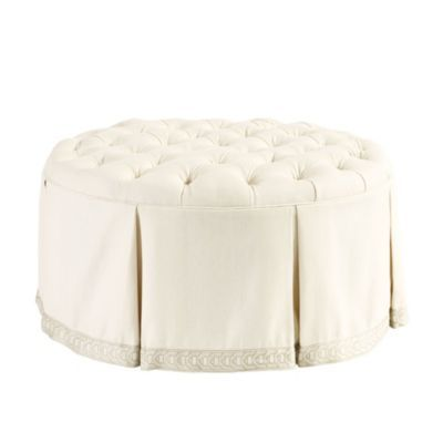 Hayes Round Tufted Ottoman Suzanne Kasler Parchment Linen With