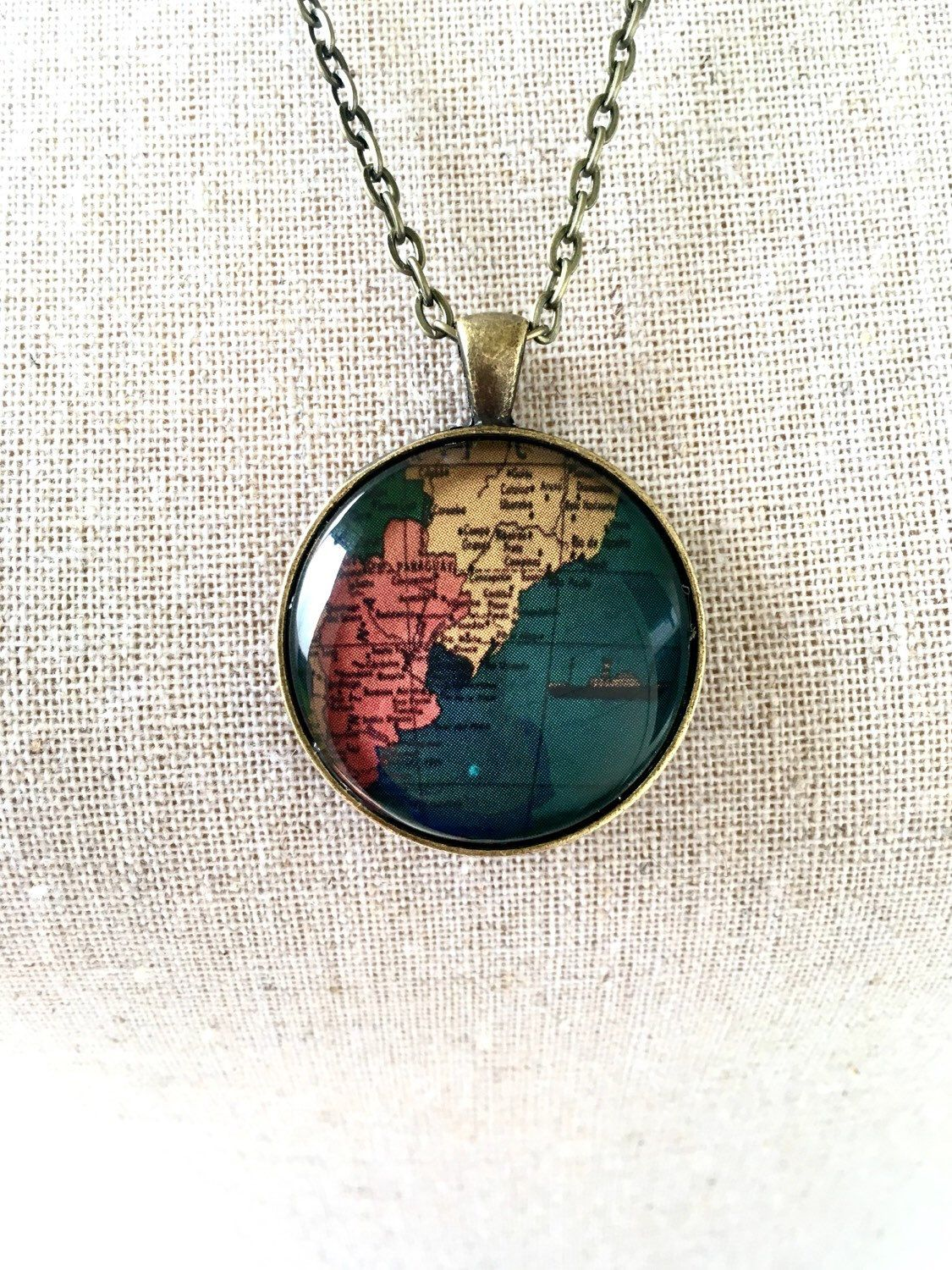 Chile Location On World Map%0A Globe Necklace South America Argentina Chile Uruguay Paraguay Travel World  Map Wanderlust Unique by IndustrialWhimsy on