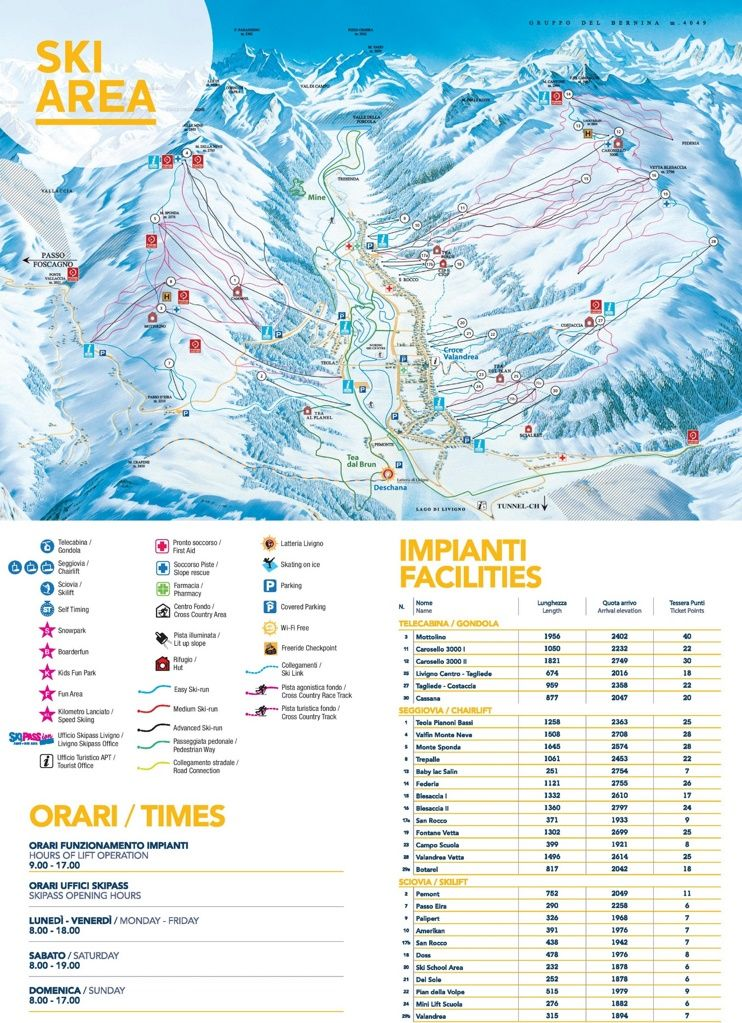Livigno piste map | Ski the World in 2019 | Skiing, Travel, Map
