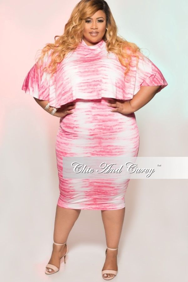 534167881a05 New Plus Size 2 Piece Cape Top   Skirt Set in Pink   White Tie Dye ...