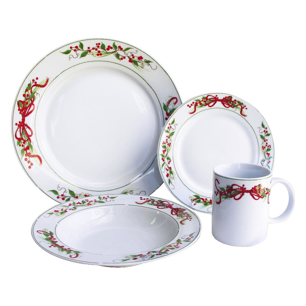 American Atelier Holly and Berries Dinnerware Set 16-pc. Stoneware White  sc 1 st  Pinterest & American Atelier Holly and Berries Dinnerware Set 16-pc. Stoneware ...