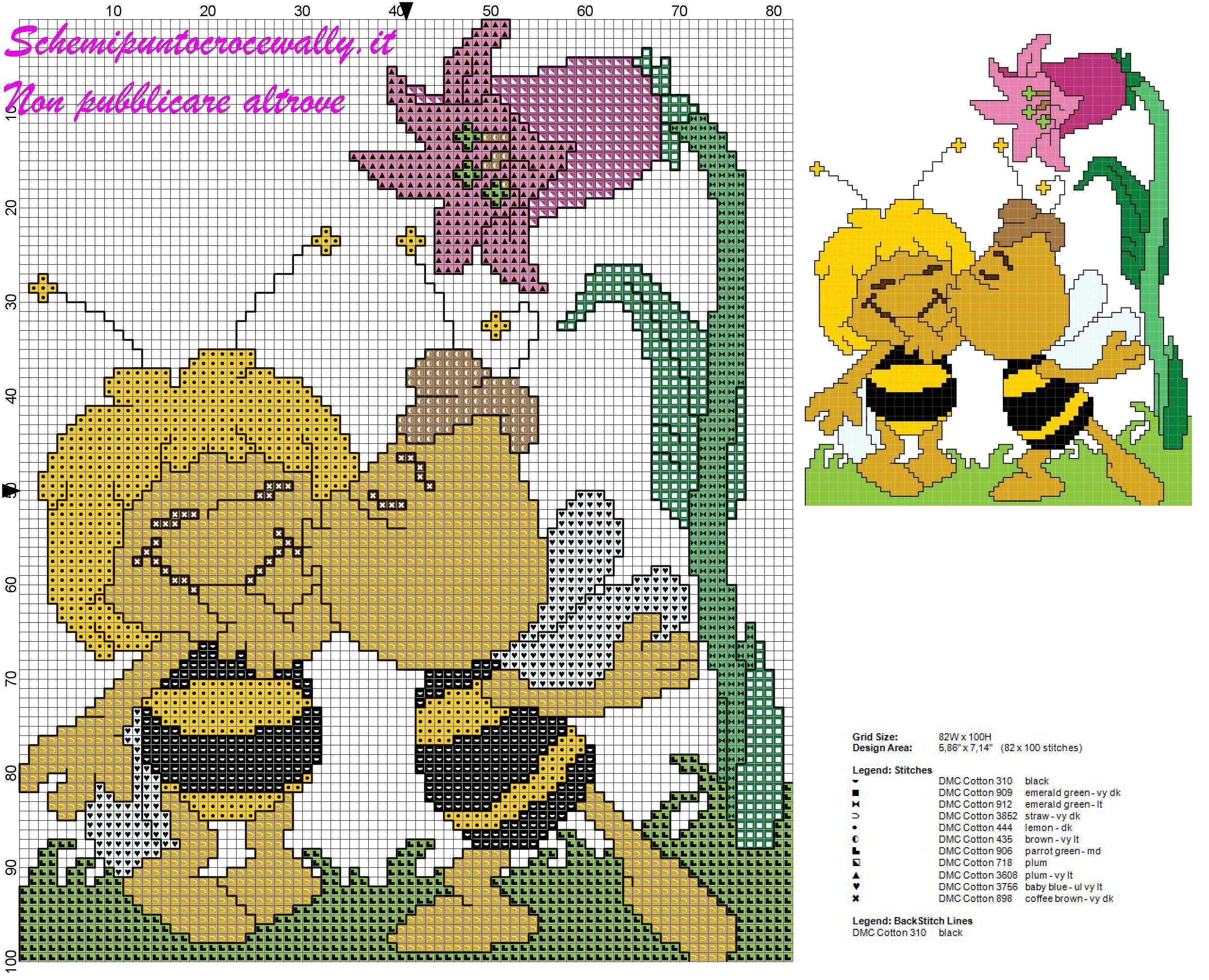 Schema punto croce per bambini willy da un bacino ad ape for Punto croce bambini disney