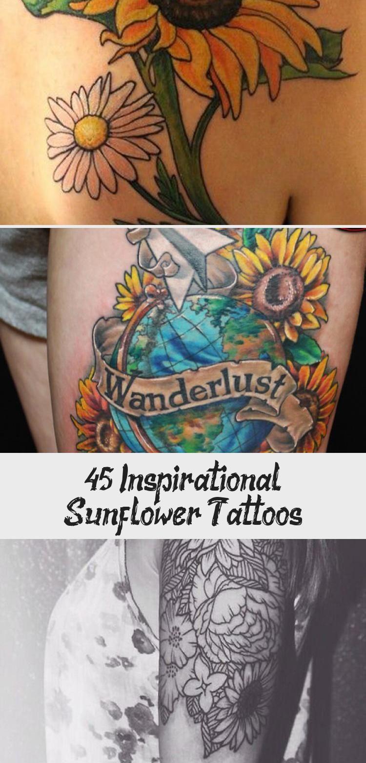 Photo of sunflower tattoo – 45 Inspirational Sunflower Tattoos #sunflowertattoosOnThigh #…