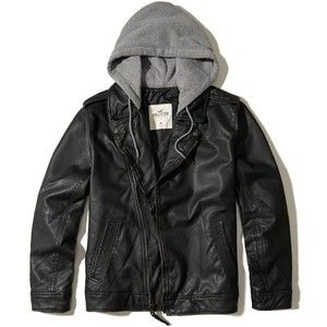 Hollister Vegan Leather Hooded Moto Jacket
