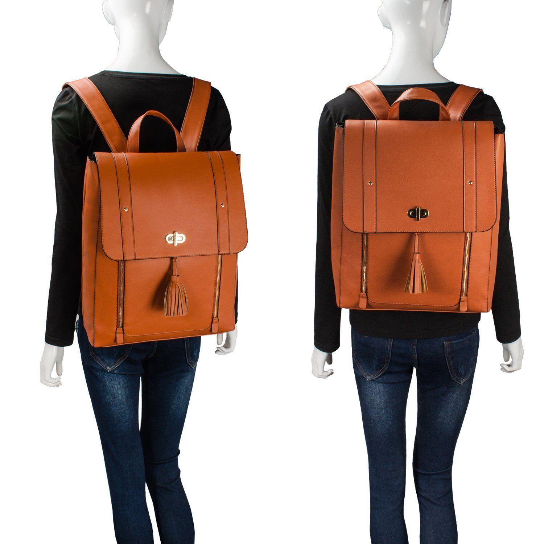 Women Laptop//College Backpack 14 Inch PU Leather Satchel Rucksack Black