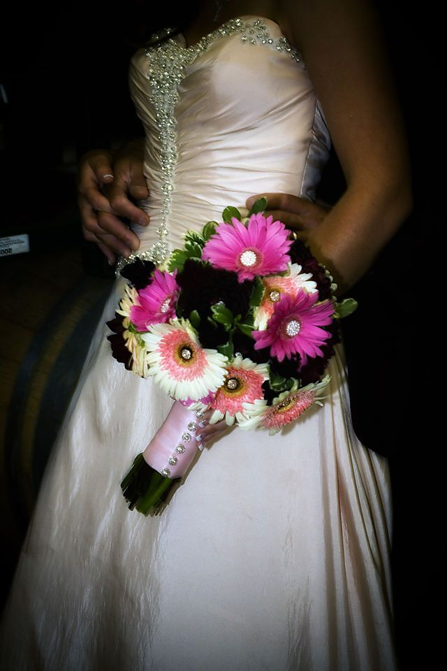 Gerbera daisies with bling