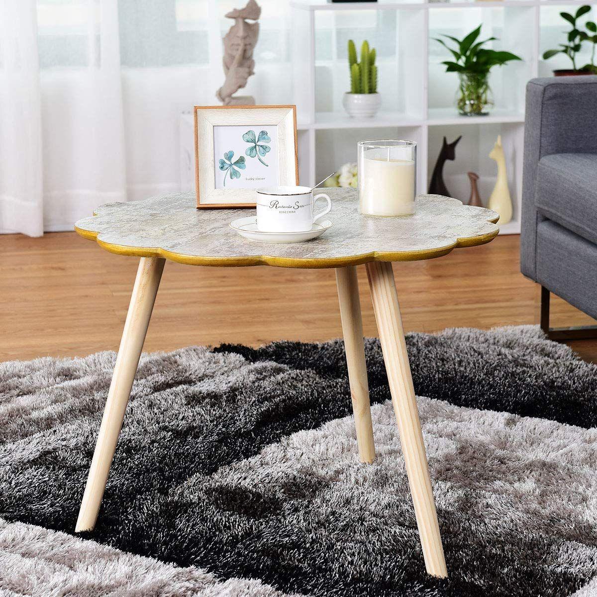Giantex Nesting Table Flower Shaped Coffee Table Sofa Side Table