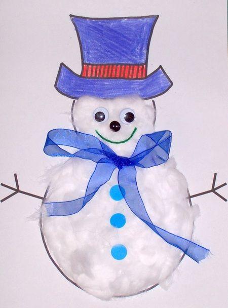 free craft template for kids - make a winter christmas snowman - snowman template