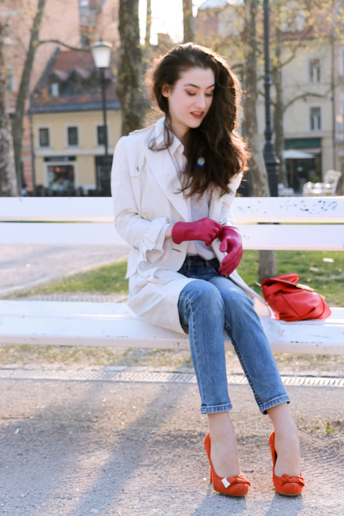 Fashion blogger Veronika Lipar of Brunette From Wall Street sharing how to wear red and pink in one outfit