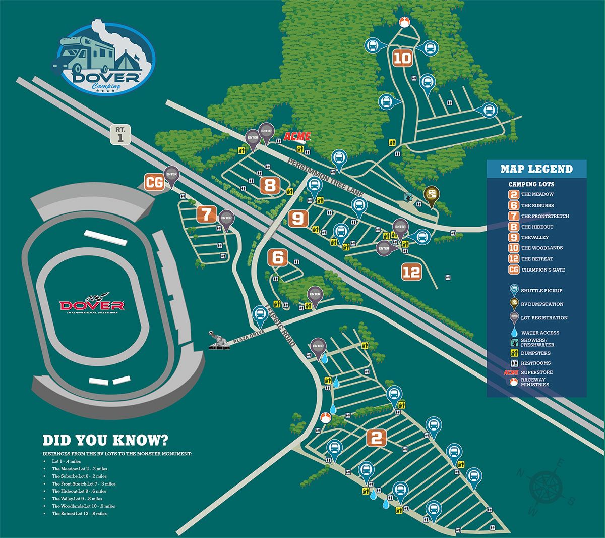 Camping Map Dover International Speedway (With images