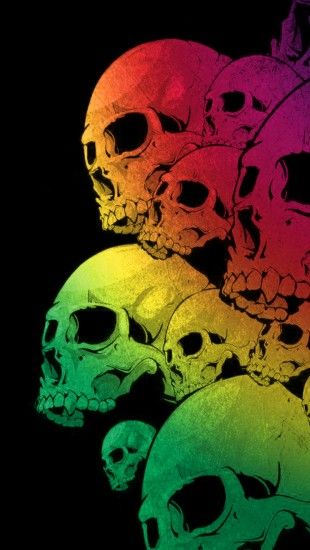 Skulls Colorful Black Background The Iphone Wallpapers Skull Wallpaper Skull Iphone Wallpaper