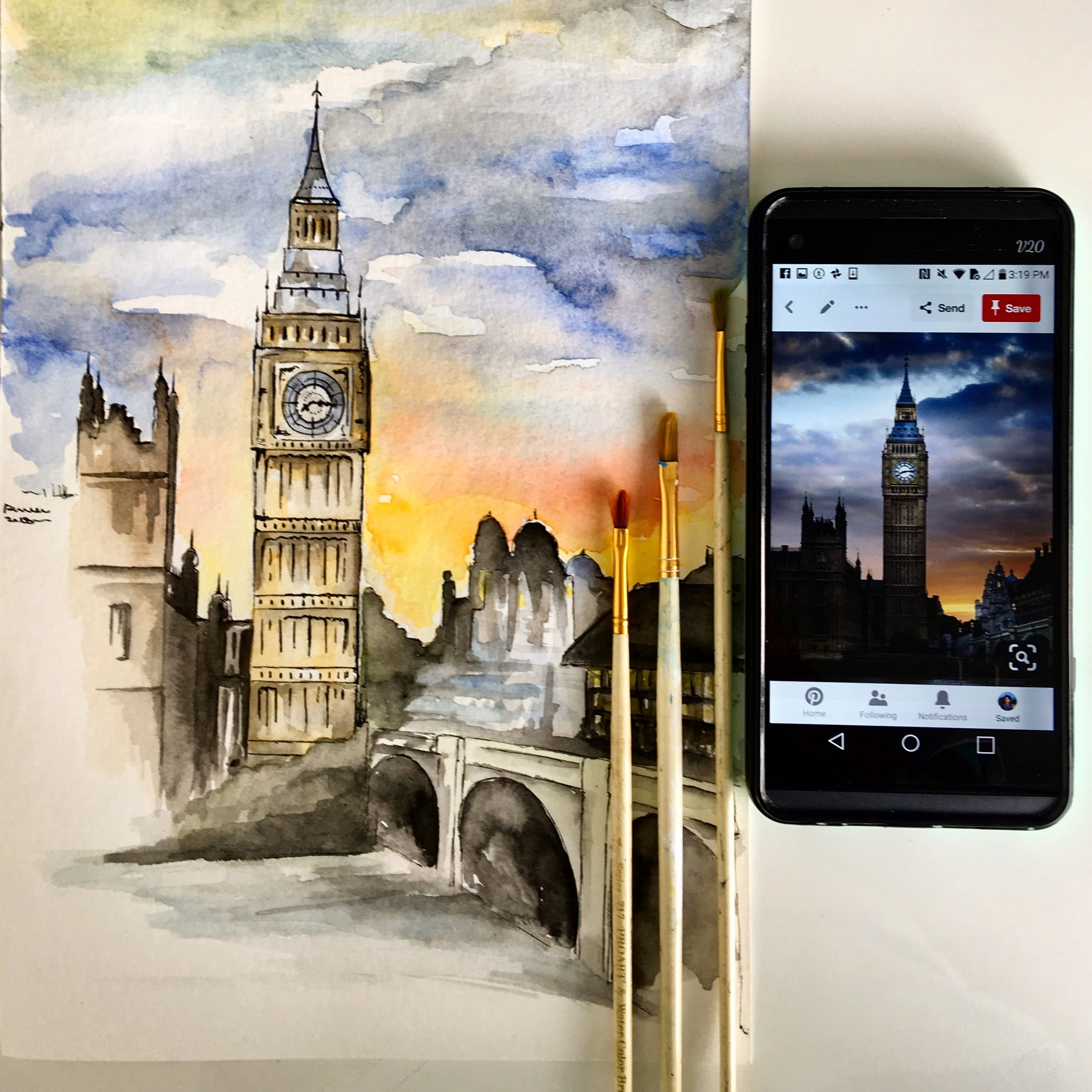 Watercolour Painting Of London With Images Watercolor