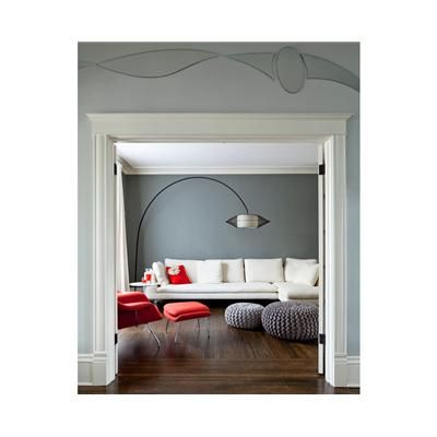 Living room seen from the mirrored entry