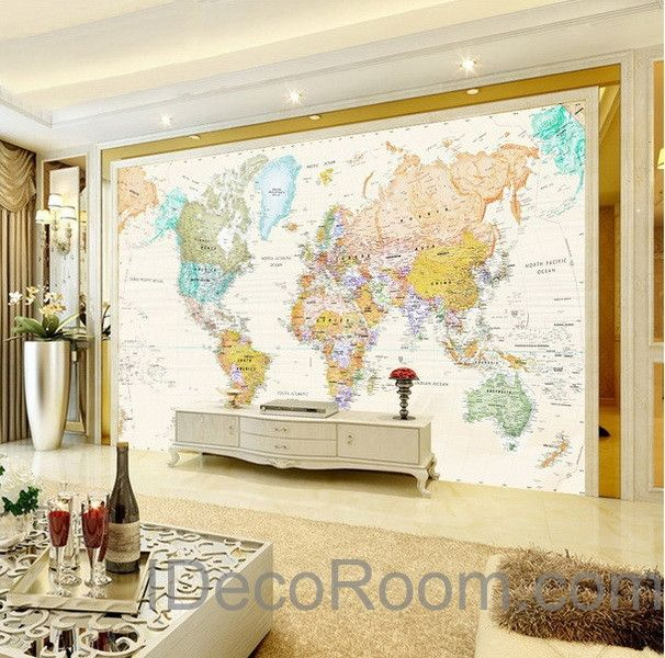 Colorful hd world map wallpaper wall decals wall art print mural colorful hd world map wallpaper wall decals wall art print mural home decor office business indoor gumiabroncs Gallery