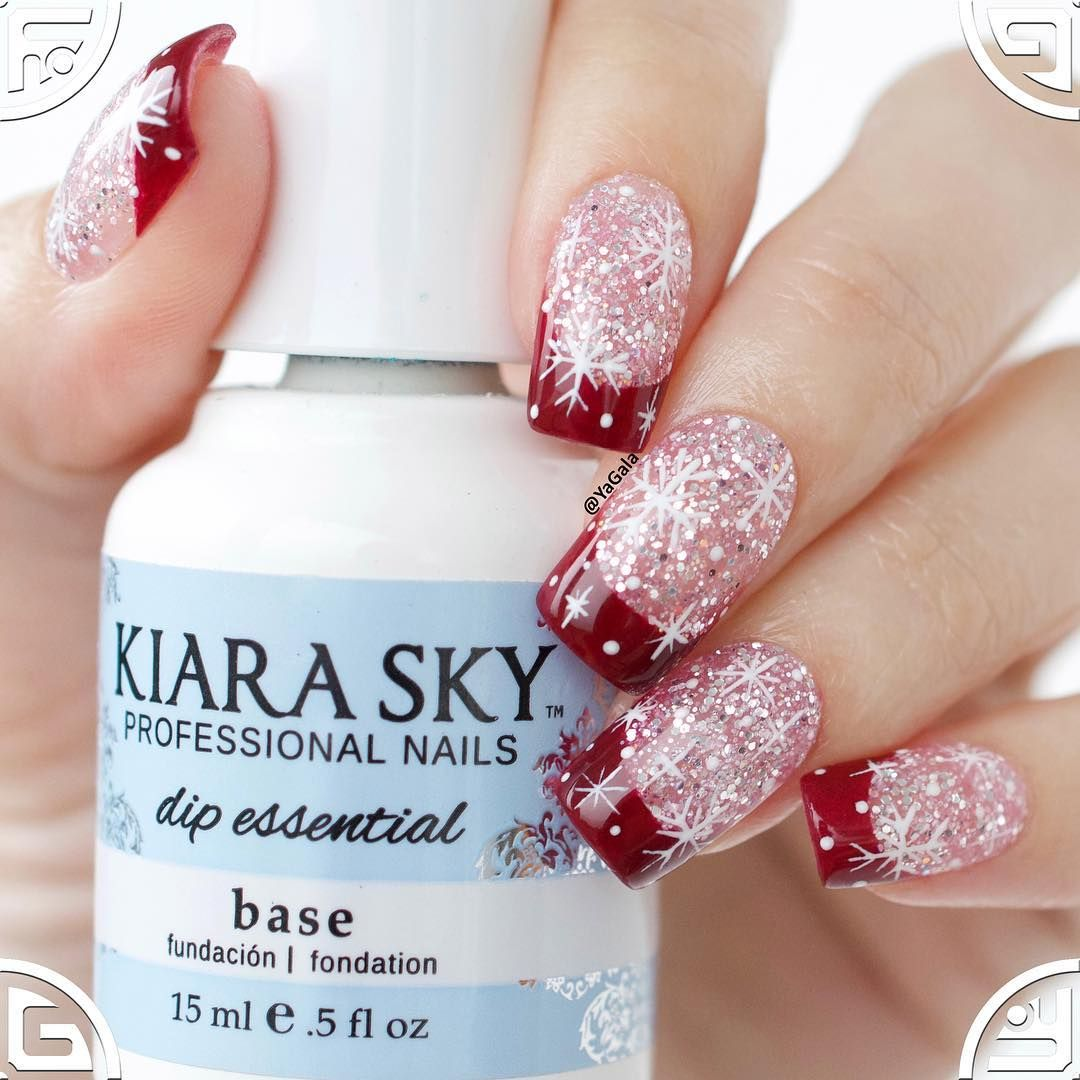 Winter Christmas Nail Tips With Kiara Sky Dip Acrylic Powder I Use Starter Kit D555 Realistic Maroon D505 Masterpiece
