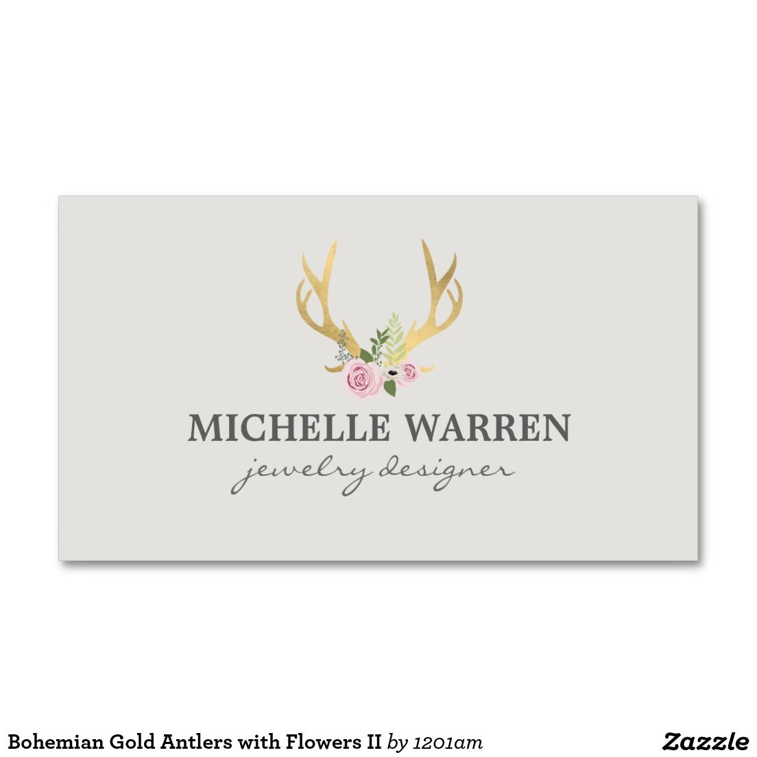 Bohemian Gold Antlers with Flowers II Business Card | Antlers ...