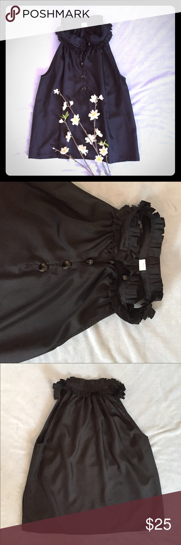 JCrew Silk Top Beautiful 100% silk black top - ruffles around the neck and 4 buttons plus pockets! Super cute for work and then transition to night J. Crew Tops Tank Tops