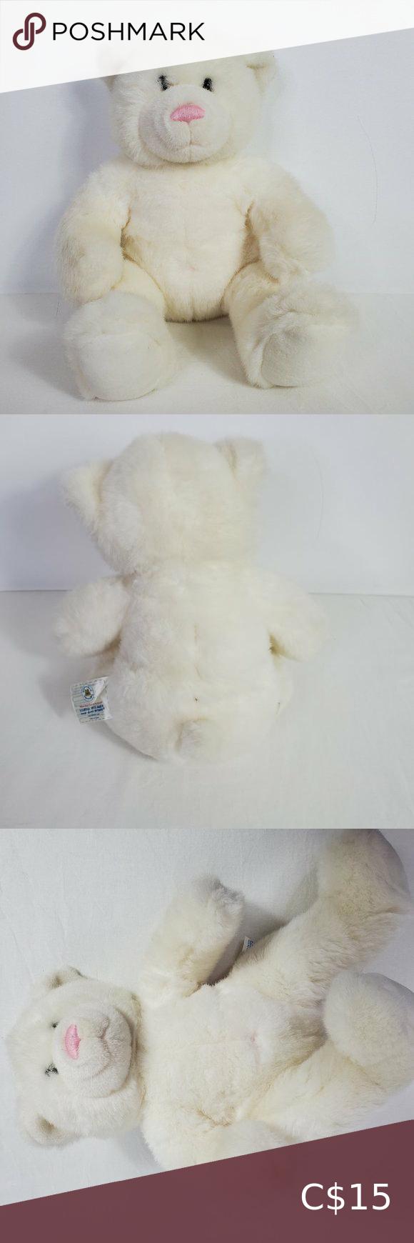 BAB Build A Bear White Teddy Bear Pink Nose Plush
